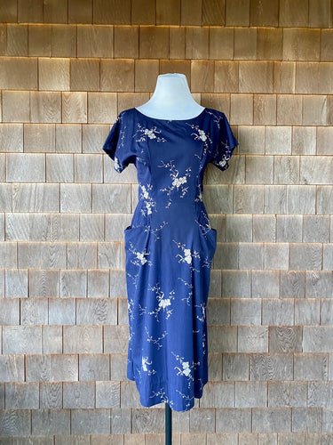 1940s Navy Floral Dress