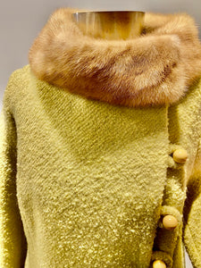 1960s Sage Coat with Mink Collar