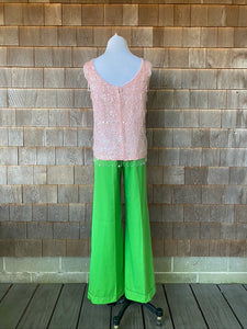 1960s Light Pink Beaded Top with Fringe