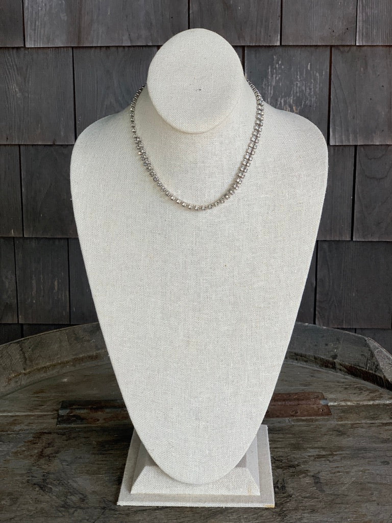 1950s Rhinestone Two Row Choker Necklace