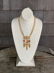Gold Necklace with glass beads