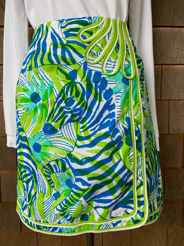 Lilly Blue and Green Zebra Wrap Mini Skirt