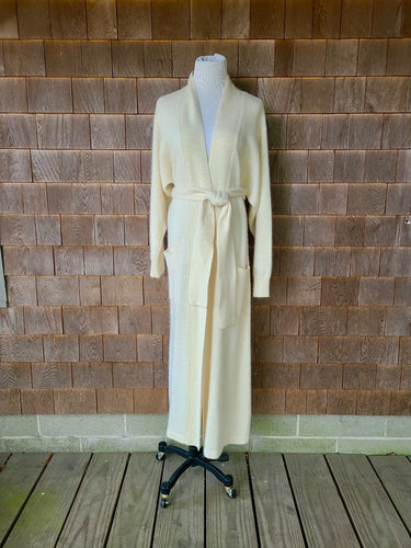 Ivory Angora Belted Long Jacket