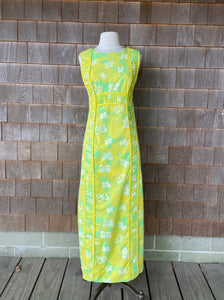 Lilly Maxi Green/Yellow Cat and Butterflies