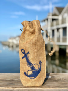 JUTE ANCHOR WINE BAG