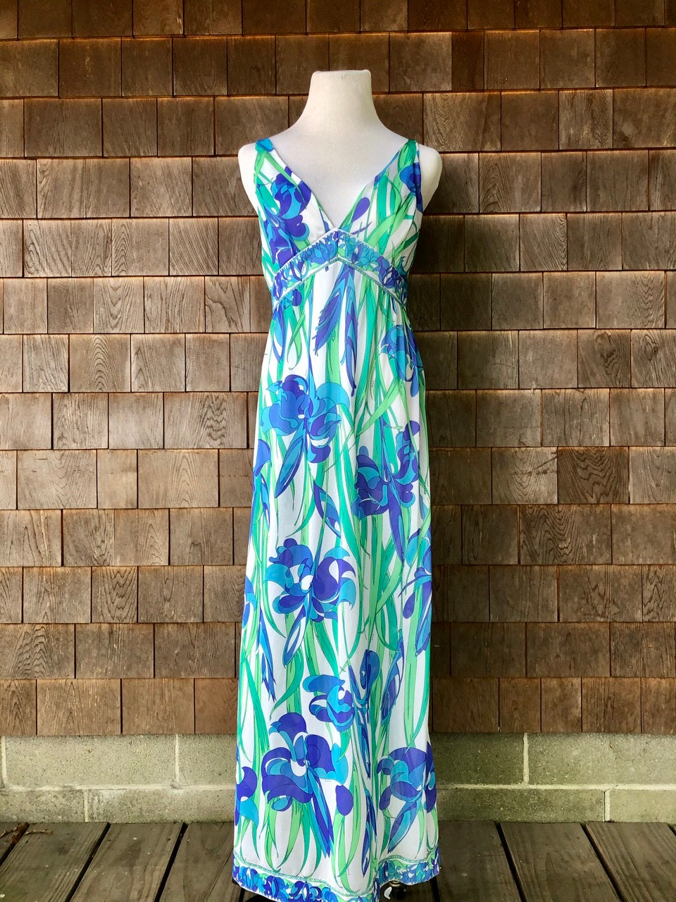 Emilio Pucci Slip Dress Maxi Blue & Green Iris Print