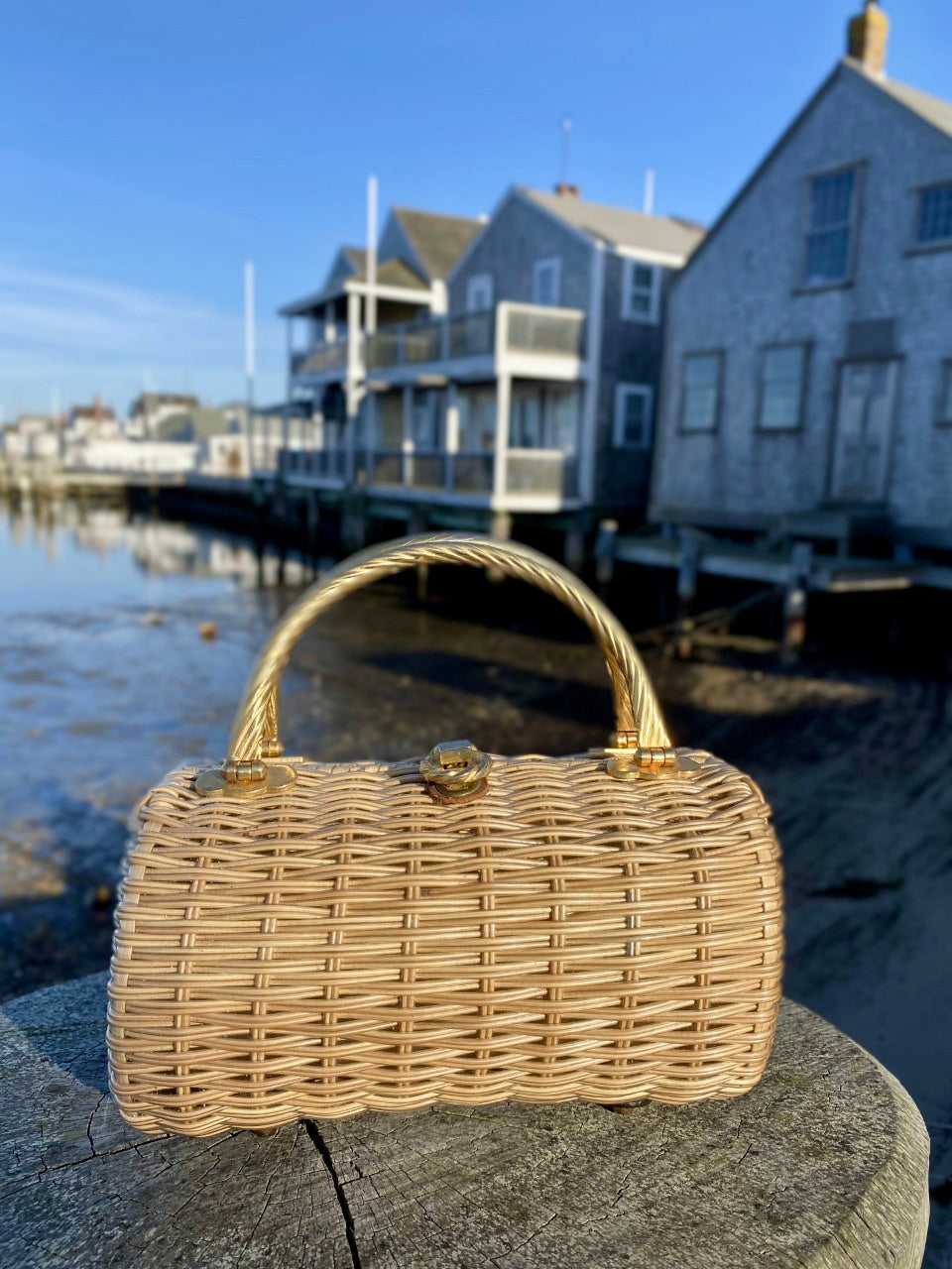 1960s Woven Barrel Bag with Double Gold Handles