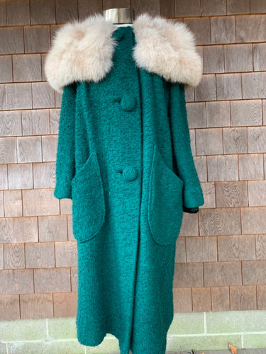 1960s Teal Boucle Coat with Luxe Fox Collar