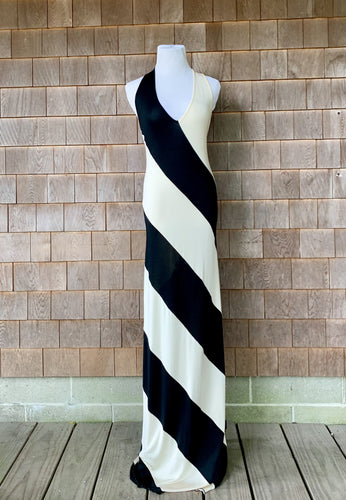 Jean Paul Gaultier B+W striped Silk Maxi