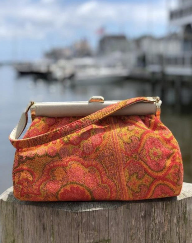1960s Orange Tapestry purse