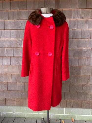 Red Boucle Coat with Fab Pink Buttons