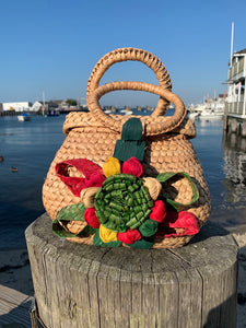 1960s Woven Bag with Raffia Flowers