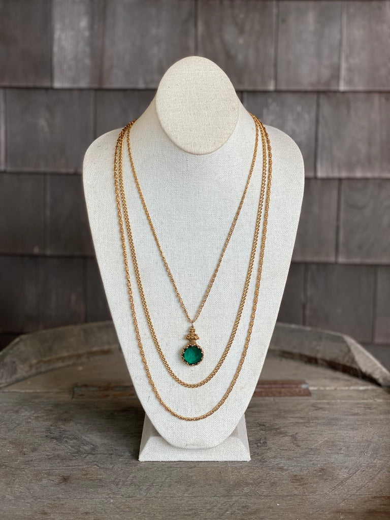 Gold Chain with Green Gem