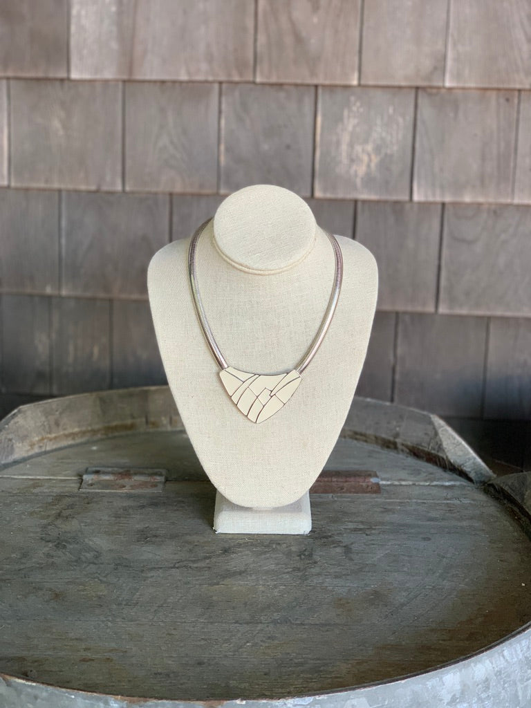 Choker Necklace with Ivory Enamel & Silver Cord