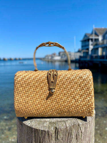 Walborg Italy Woven Bag with Golden Braid Handle