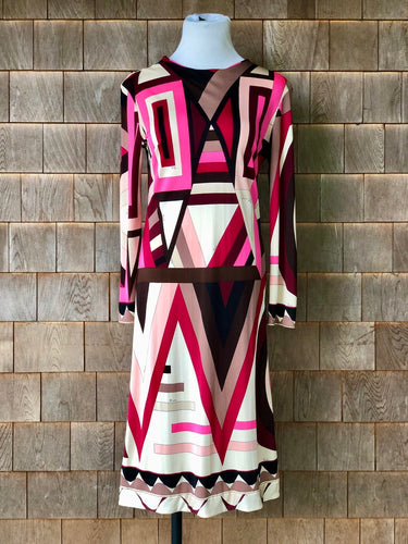 Emilio Pucci Brown and Pink Geometric Dress
