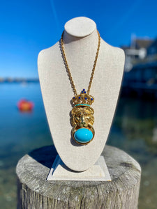 Pauline Rader Gold Lion King Pendant Necklace with Turquoise Stones