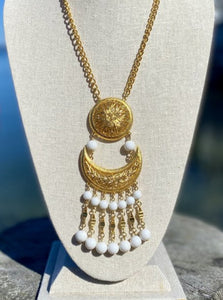 Vendome Gold Chain Necklace with Crescent Moon Dangle Pendant