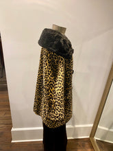 Load image into Gallery viewer, Leopard Faux-Fur Coat w/ Black Collar & Buttons