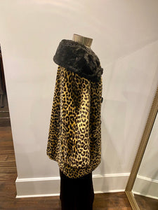 Leopard Faux-Fur Coat w/ Black Collar & Buttons