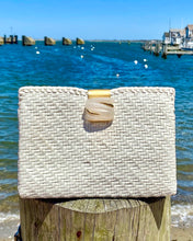 Load image into Gallery viewer, WHITE WOVEN CLUTCH W/ DECORAT