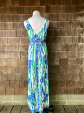 Load image into Gallery viewer, Emilio Pucci Slip Dress Maxi Blue & Green Iris Print