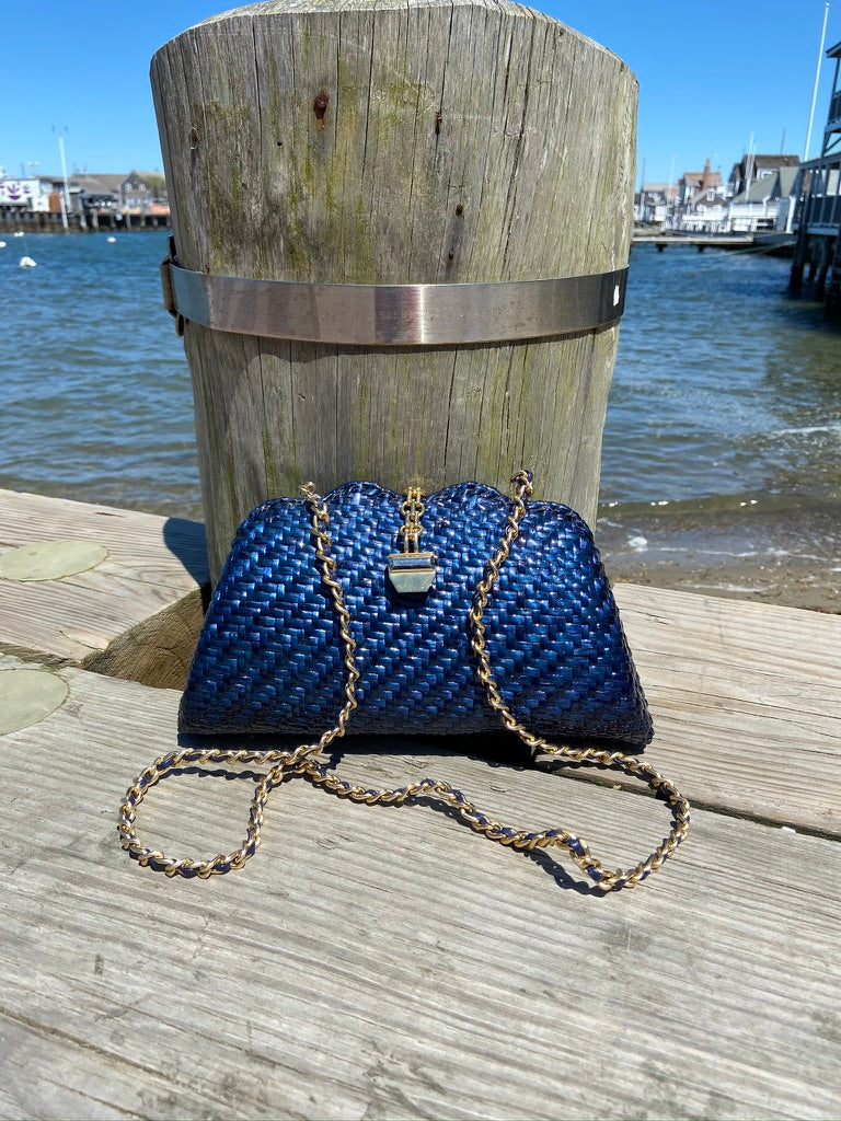 Blue Herringbone Purse with Gold Clasp