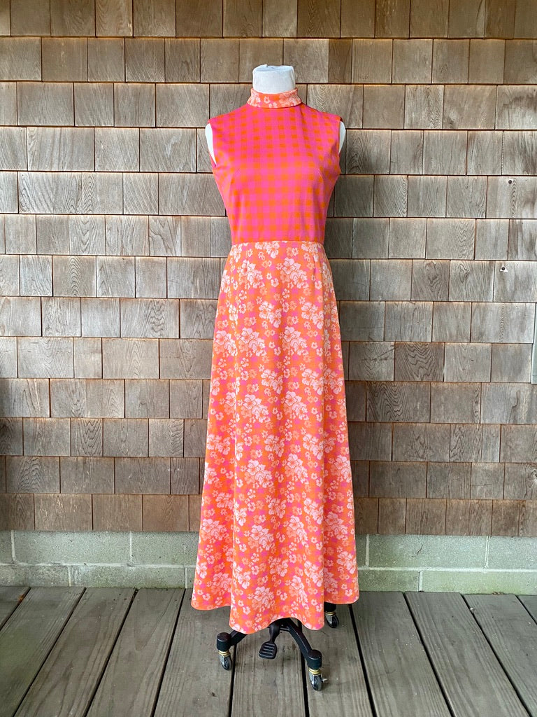 Pink Mixed Pattern 1970s Maxi