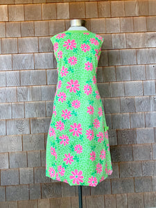 Green + Pink Floral Lilly Dress