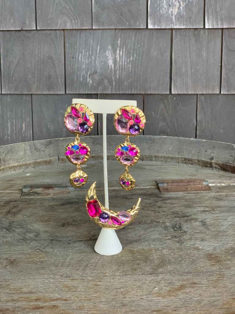 Pink Gold Statement Earrings