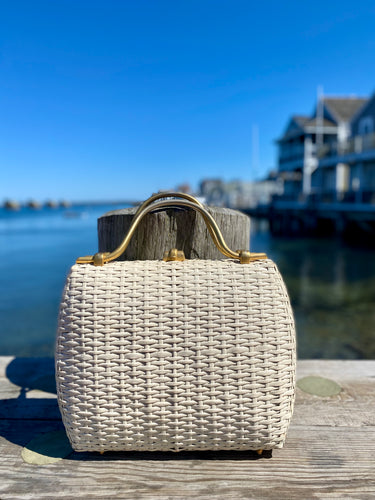 1960s Koret White Oversized Woven Bag with Brass Handles