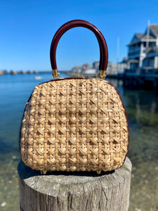 1960's Woven Purse with Chocolate Brown Handles and Gold Clasp