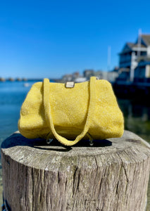 1960s Hand-Beaded Yellow Evening Bag  with Mother-of-Pearl Clasp