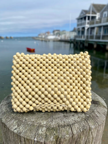 1960's Ivory Beaded Purse with Double Handles