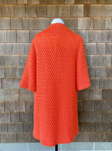 Fred Rothschild of California Bright Coral Honeycomb Knit Dress Coat with Patchwork Pockets