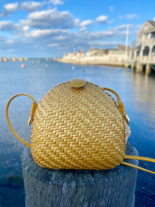 Rodo Italy Woven Yellow Bag with Leather Strap