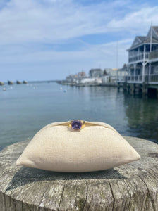 Faux Amethyst Ring with Gold Band