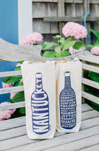 Load image into Gallery viewer, Wine Tote Nantucket Navy Sgl