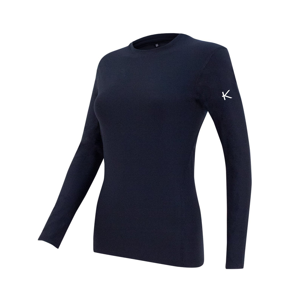 Women's Performance and Recovery Base Layer Top - iGoSport x Kymira. Black. Long sleeve.