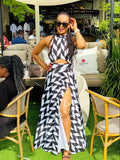 Black and white open back slit maxi