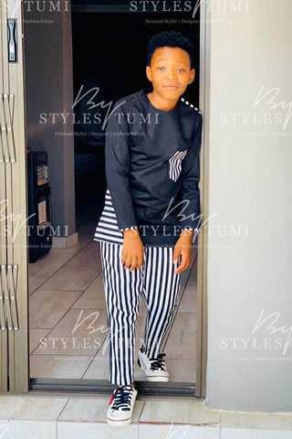 Boys Black and White Stripe 2 Piece - Kiddies