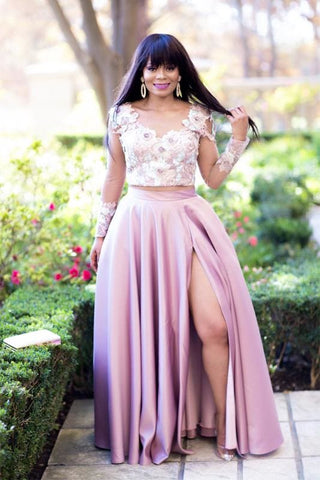 Dusty Pink Formal Maxi Skirt and Crop Top - Dress