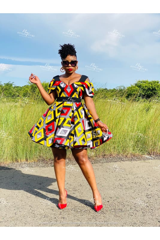 multi coloured off shoulder African flare dress