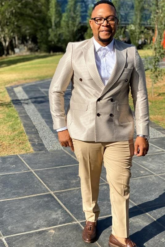 Nude and Gold Mens Suit