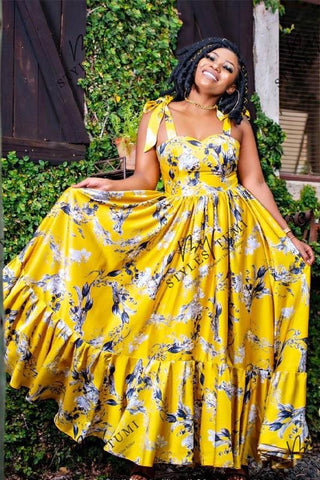 Yellow Mellow Floral Maxi - Dress
