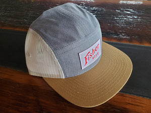5 Panel Mesh Truckers Hat w/ White Woven Labels