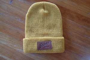 Leather Patch Waffle Knit Beanie