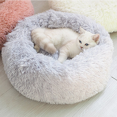 Long Plush Super Soft Pet Bed Kennel Dog Round Cat Winter Warm Sleeping Bag Puppy Cushion Mat Portable Cat Supplies 40/50/60cm