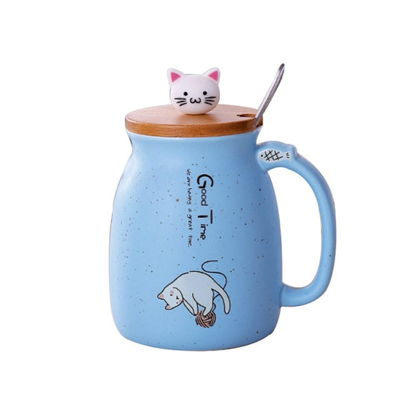 Hoomall 420ml Creative Color Cat Heat-resistant Mug Cartoon With Lid Cup Kitten Coffee Ceramic Mugs Children Cup Drinkware Gift