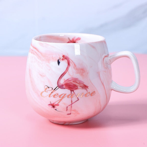 Flamingo Coffee Mugs Ceramic Mug Travel Cup Cute Cat Foot Ins 72*85mm 350ml H1215